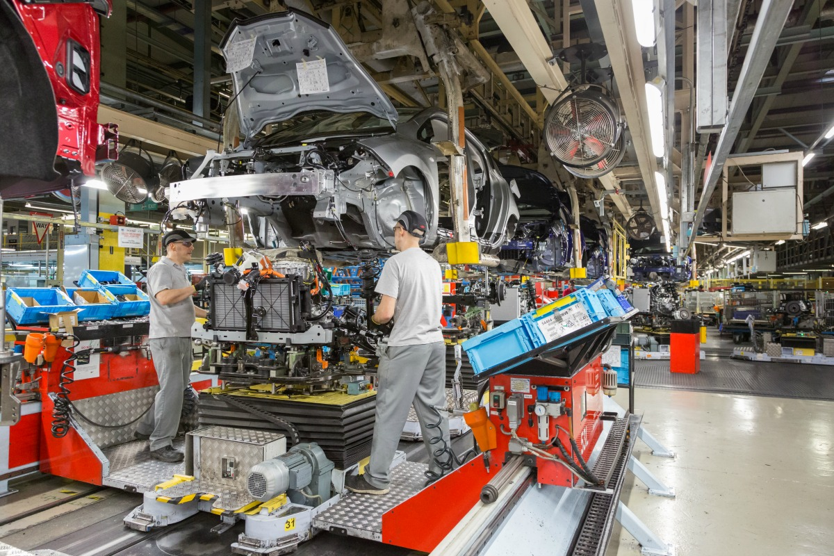 Nissan LEAFs in production in Nissan's flagship Sunderland plant