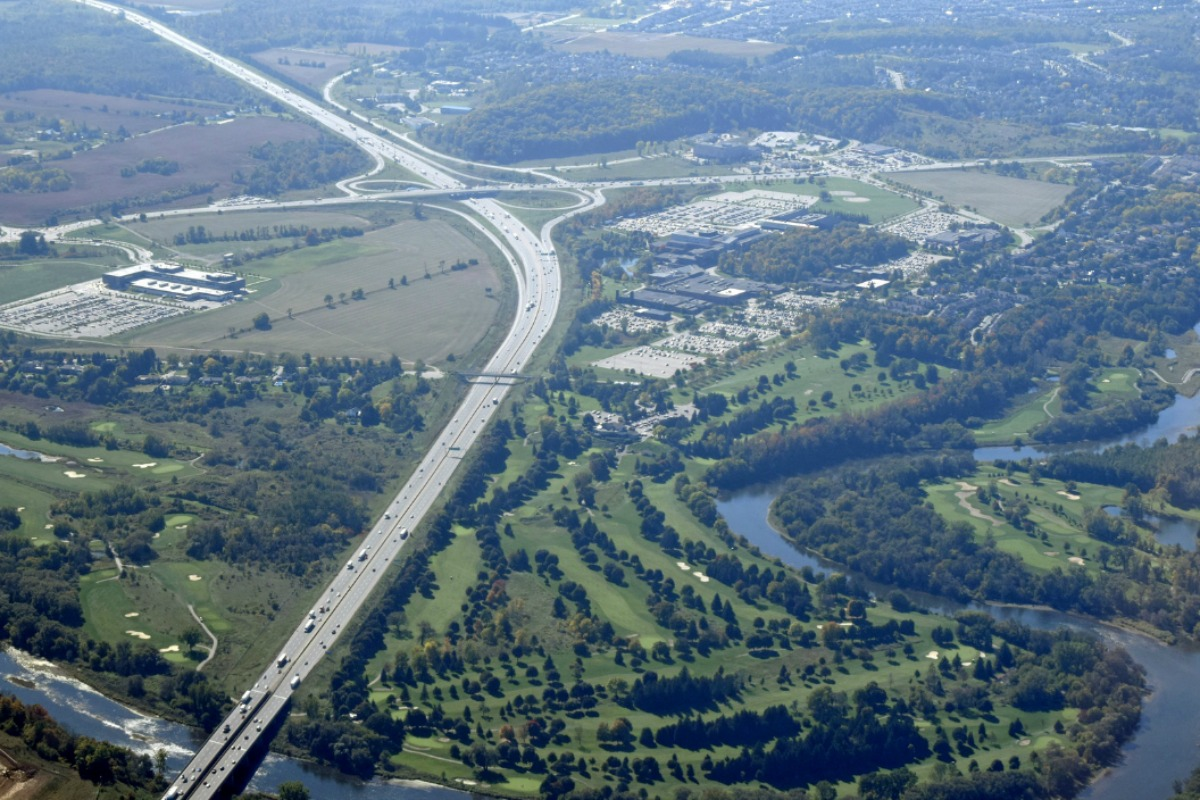 Aerial shot of Kitchener Waterloo region of Canada already served by the network