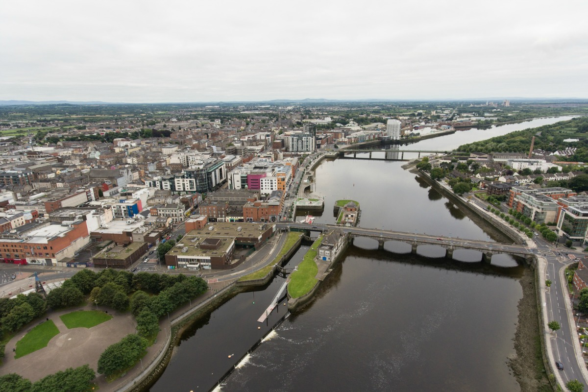 Aerial view of Limerick which is embarking on the road to becoming a smart city