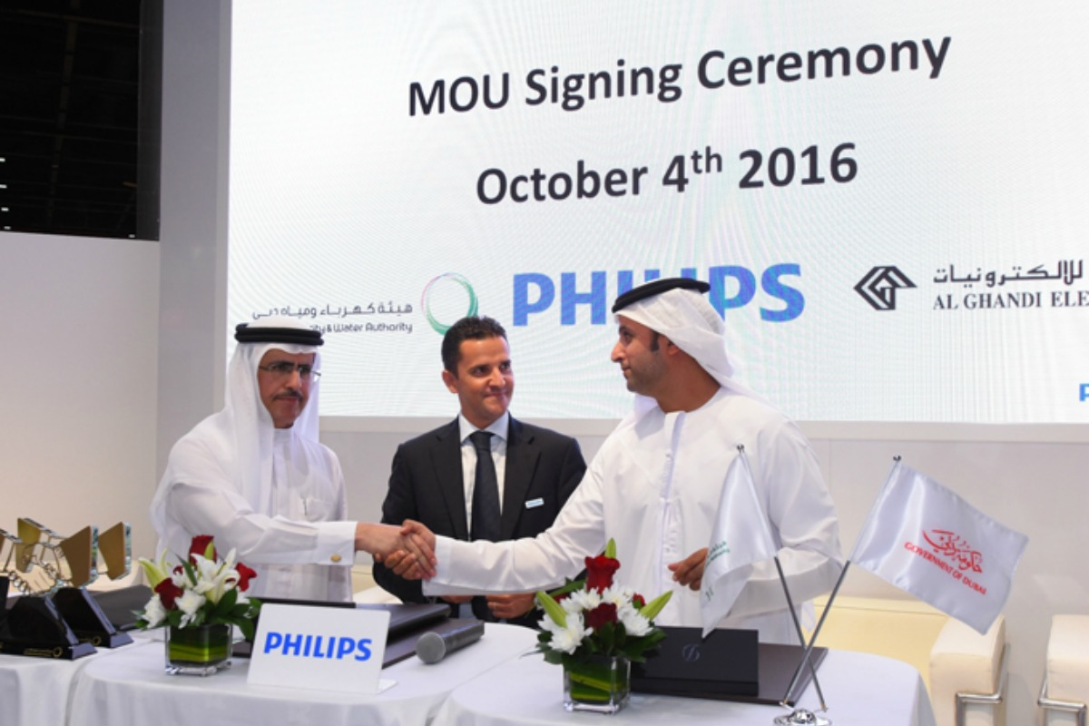 The agreement between DEWA and Philips Lighting is signed at WETEX in Dubai
