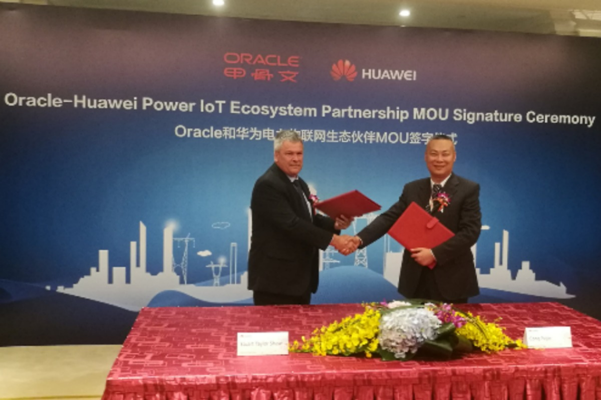 The signing of the 'Power IoT Ecosystem' partnership by Huawei and Oracle