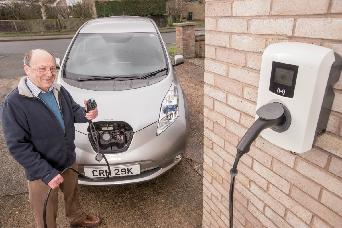 Clive Harding charges up his Nissan LEAF with the new Electric Nation charger