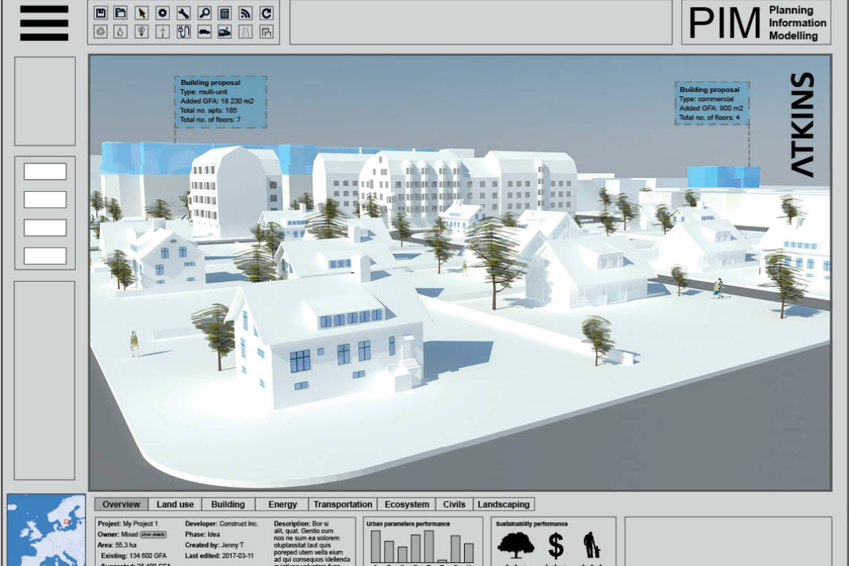3D layout showing what Atkins' Swedish digital urban planning tool could look like