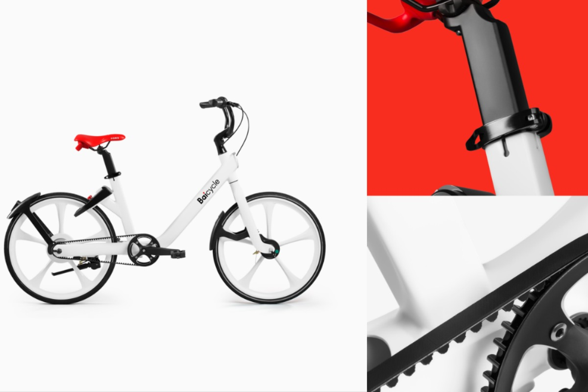 Baicycle's white aesthetic represents the modern look of next-generation fleet bicycles