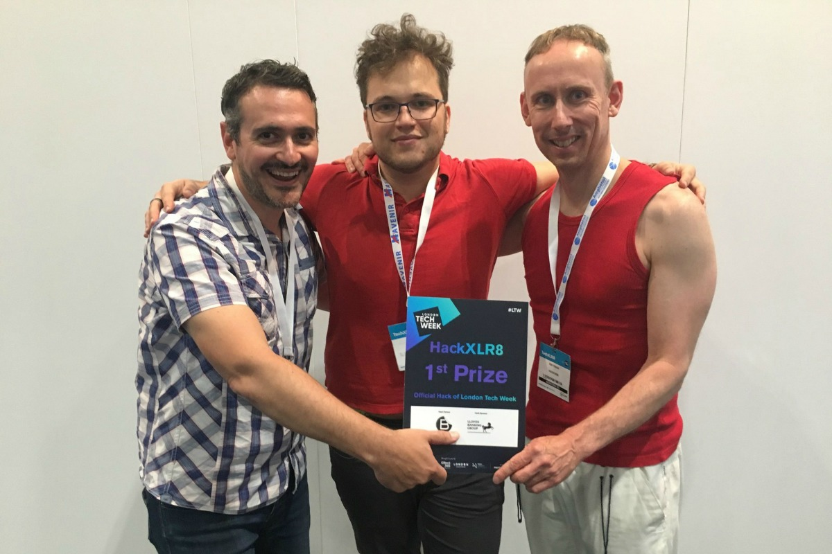 Frank Vitetta, Alessandro Francia and Rob Finean who won the Tech Week hackathon