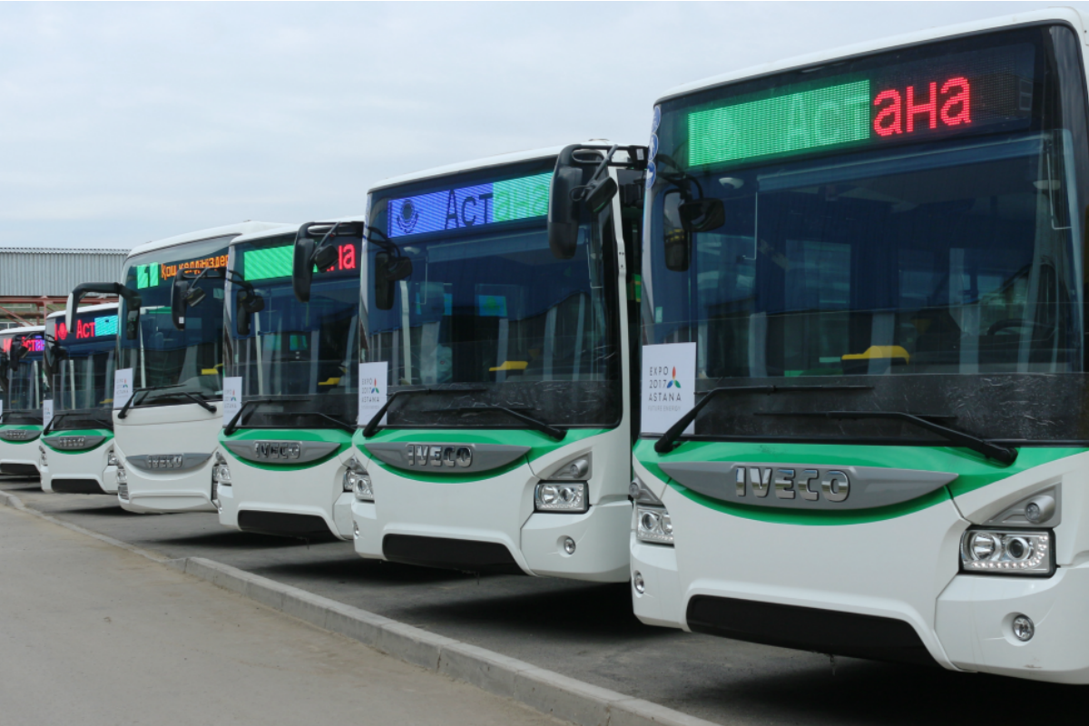 The Urbanway Hybrid buses are lining up for action at Expo in Astana