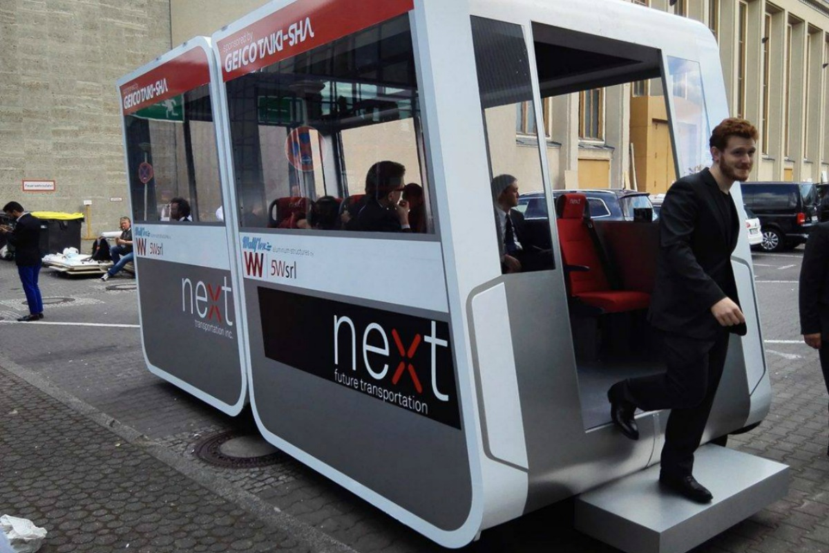 NEXT Transportation's modular self-driving pods in action